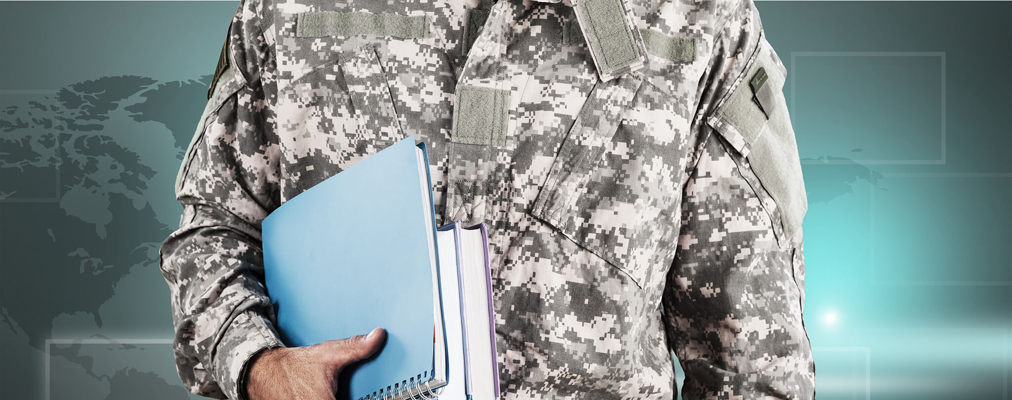 Soldier holding notebooks
