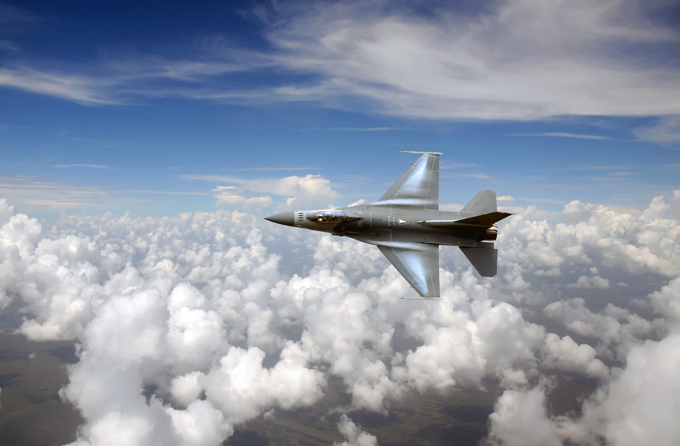 Jet fighter in the sky